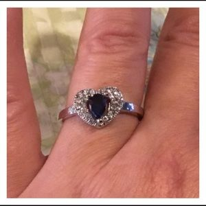 Vintage Silver Heart Blue Teardrop Sapphire Ring